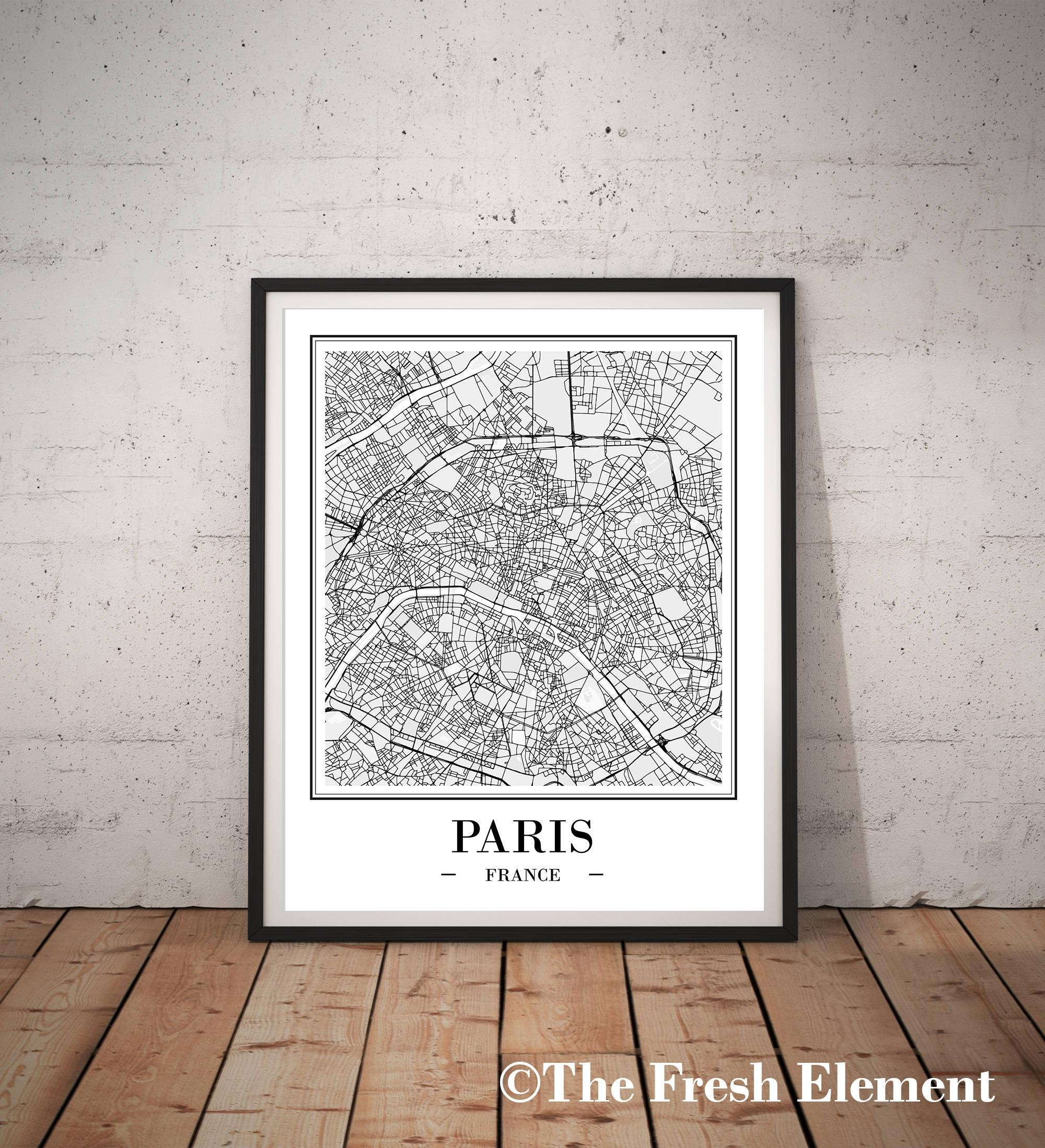 Paris Map Print Digital Download Paris City Map Of Paris Print Intended For Map Of Paris Wall Art (Image 14 of 20)