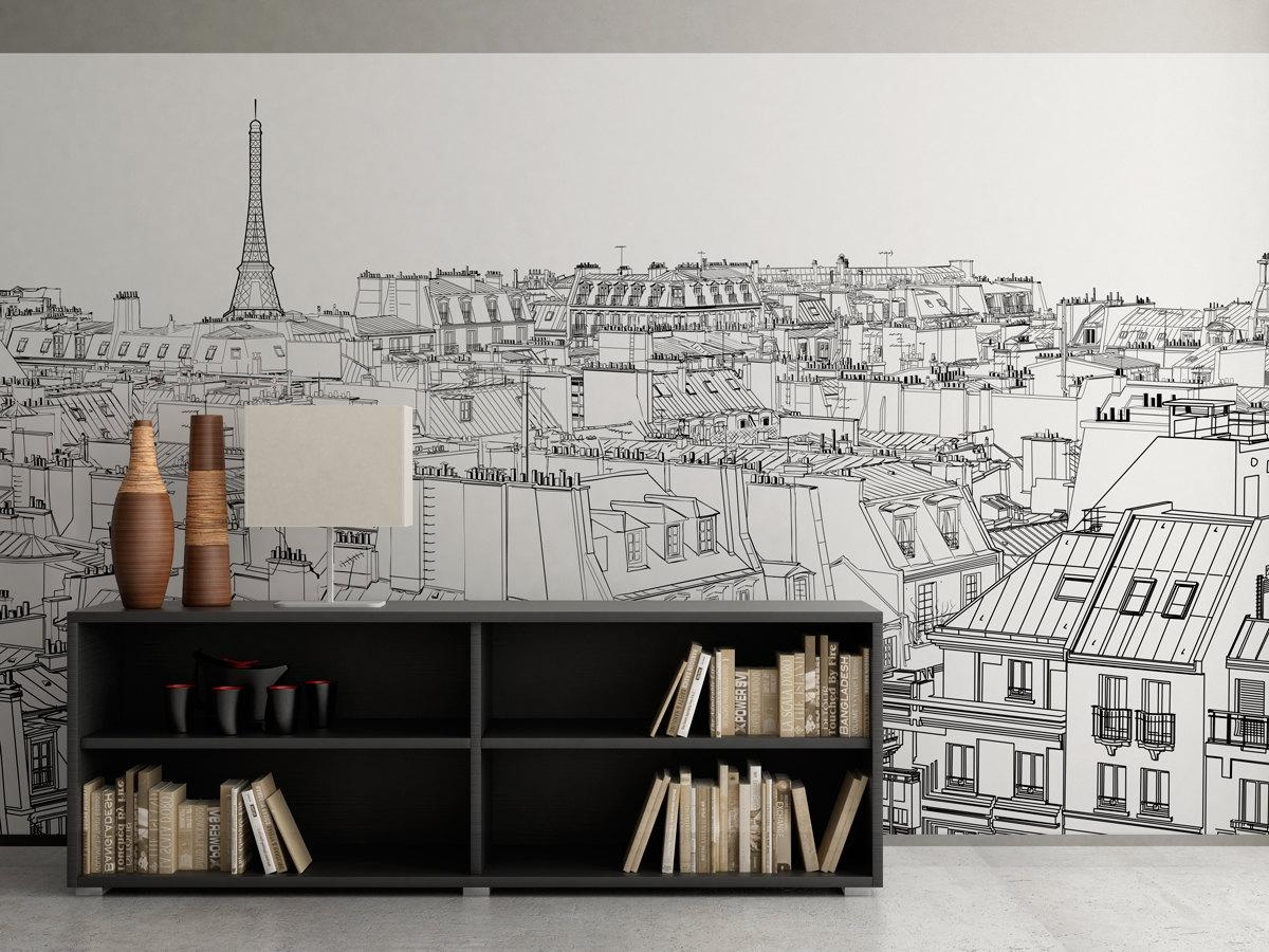 Paris Outlines Wall Art – Moonwallstickers Pertaining To Parisian Wall Art (Image 10 of 20)