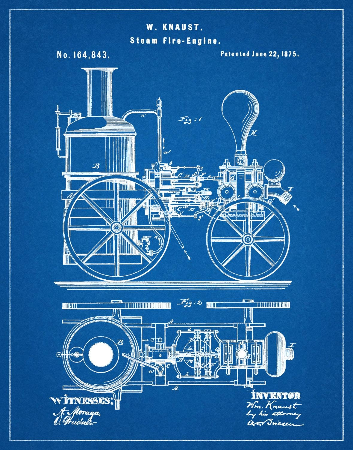 Patent 1875 Steam Fire Engine – Art Print – Poster – Wall Art Pertaining To Fire Truck Wall Art (Image 10 of 20)