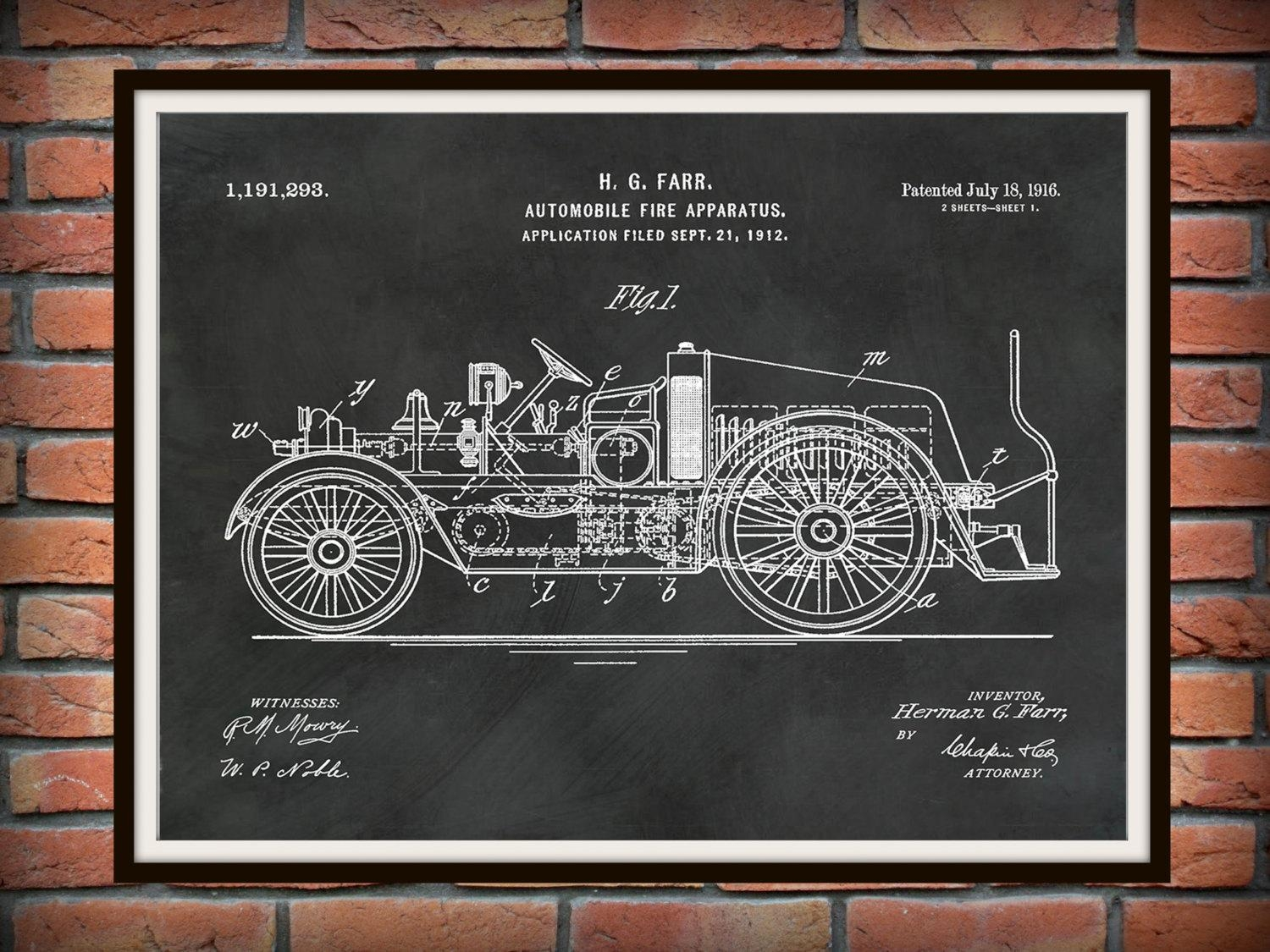 Patent 1916 Fire Truck Automobile Fire Apparatus Art Print Or Regarding Fire Truck Wall Art (Image 11 of 20)