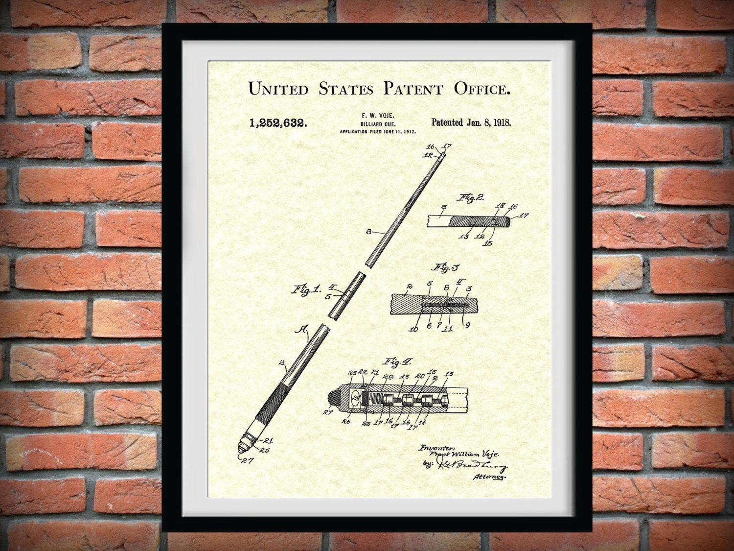 Patent 1918 Billiard Cue Patent Art Print – Poster Print – Drawing Intended For Billiard Wall Art (View 14 of 20)