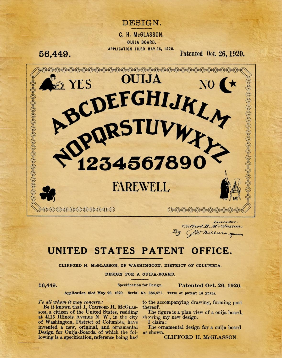 Patent 1920 Ouija Board – Art Print – Game Room Art – Victorian For Ouija Board Wall Art (View 12 of 20)