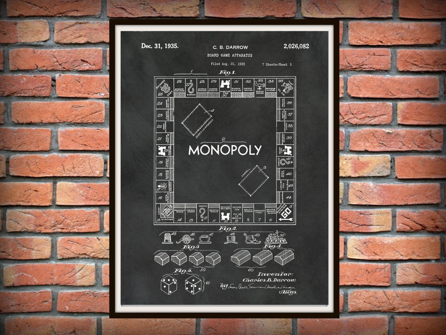 Patent 1935 Monopoly Board Game Patentcb Darrow Art Print For Board Game Wall Art (View 20 of 20)