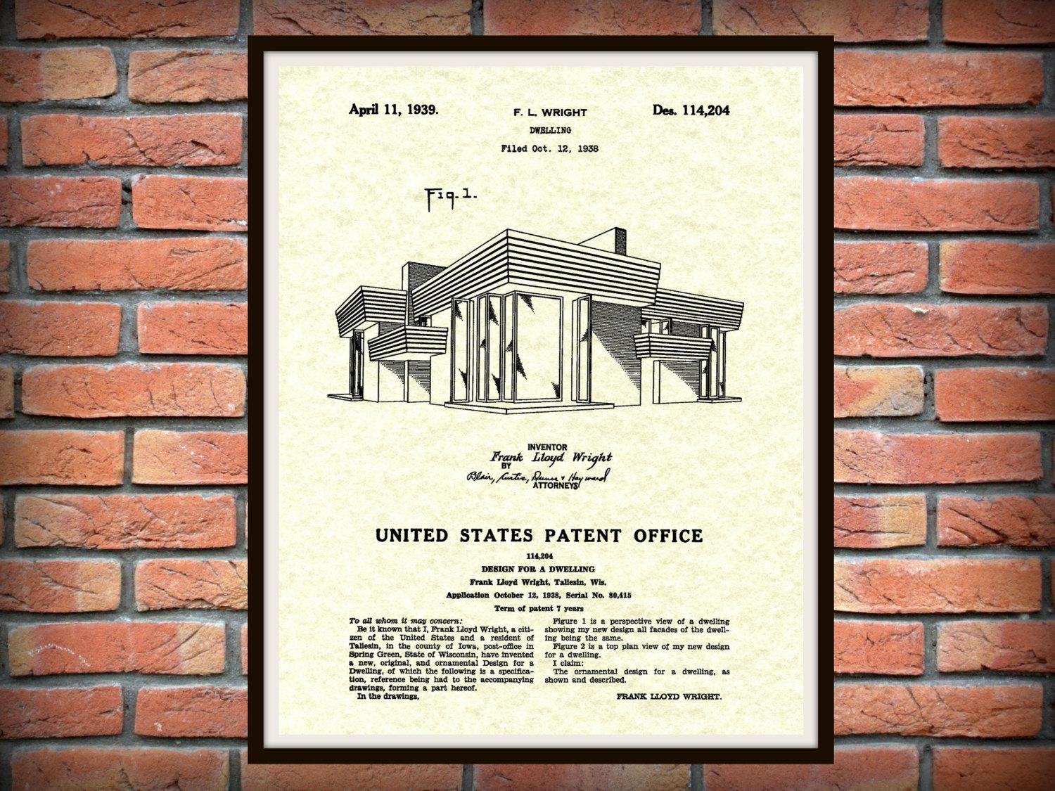 Patent 1939 Frank Lloyd Wright House Architecture – Dwelling Art Regarding Frank Lloyd Wright Wall Art (Photo 3 of 20)