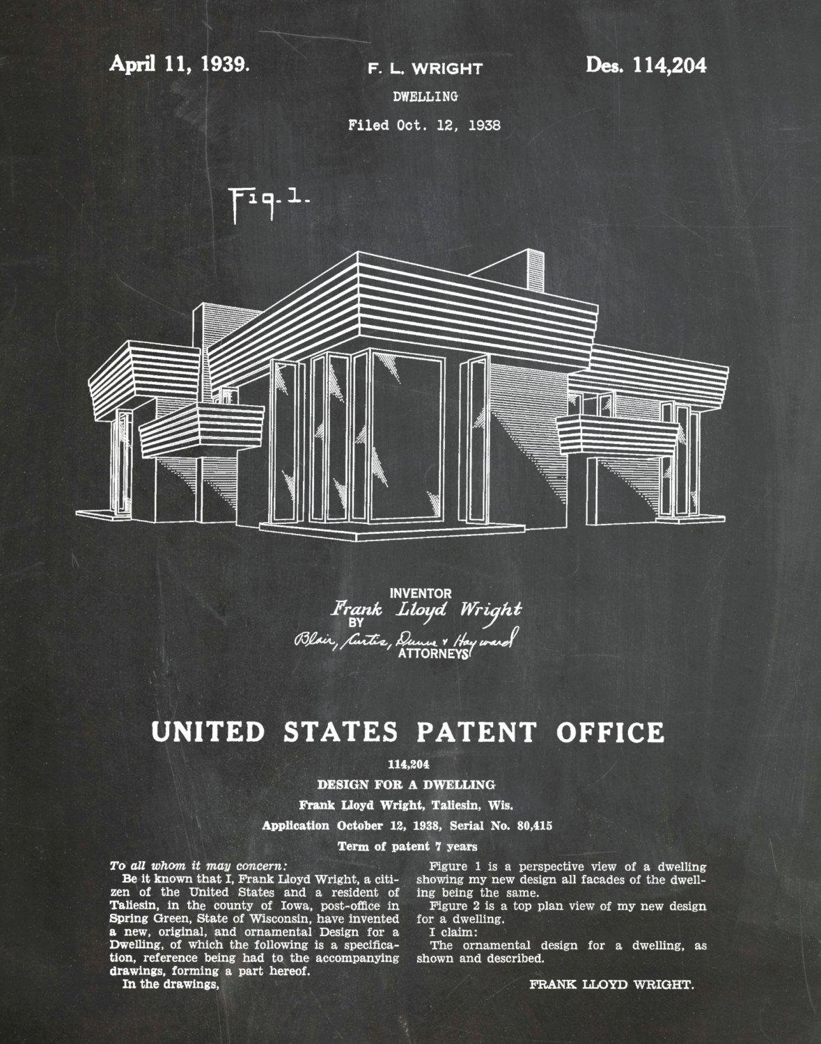 Patent 1939 Frank Lloyd Wright House Architecture – Dwelling Art Throughout Frank Lloyd Wright Wall Art (View 10 of 20)