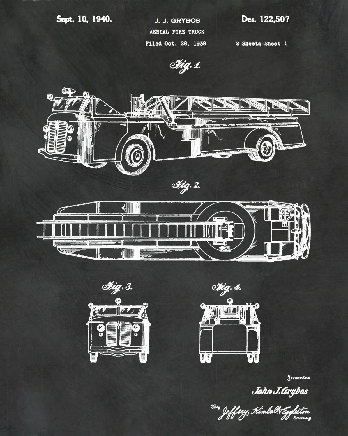 Patent Aerial Fire Truck 1940 Designj.j (View 11 of 20)