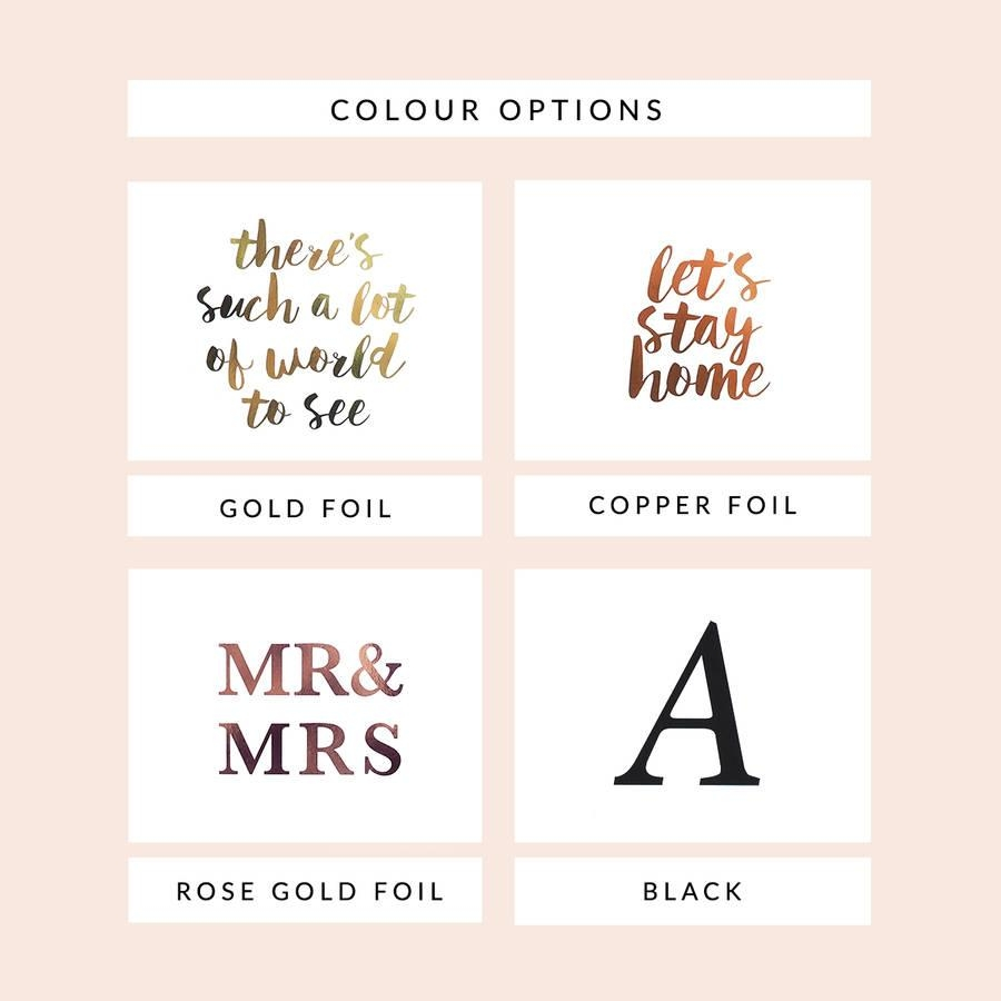 Personalised Custom Wall Art Foil Printlily Rose Co Regarding Mr And Mrs Wall Art (Image 15 of 20)