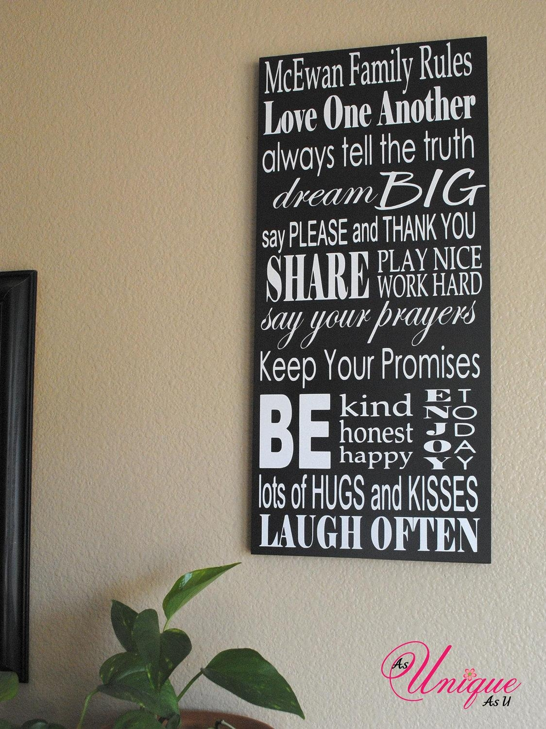 Personalized Family Rules Sign 10X23 Regarding Personalized Family Rules Wall Art (View 4 of 20)