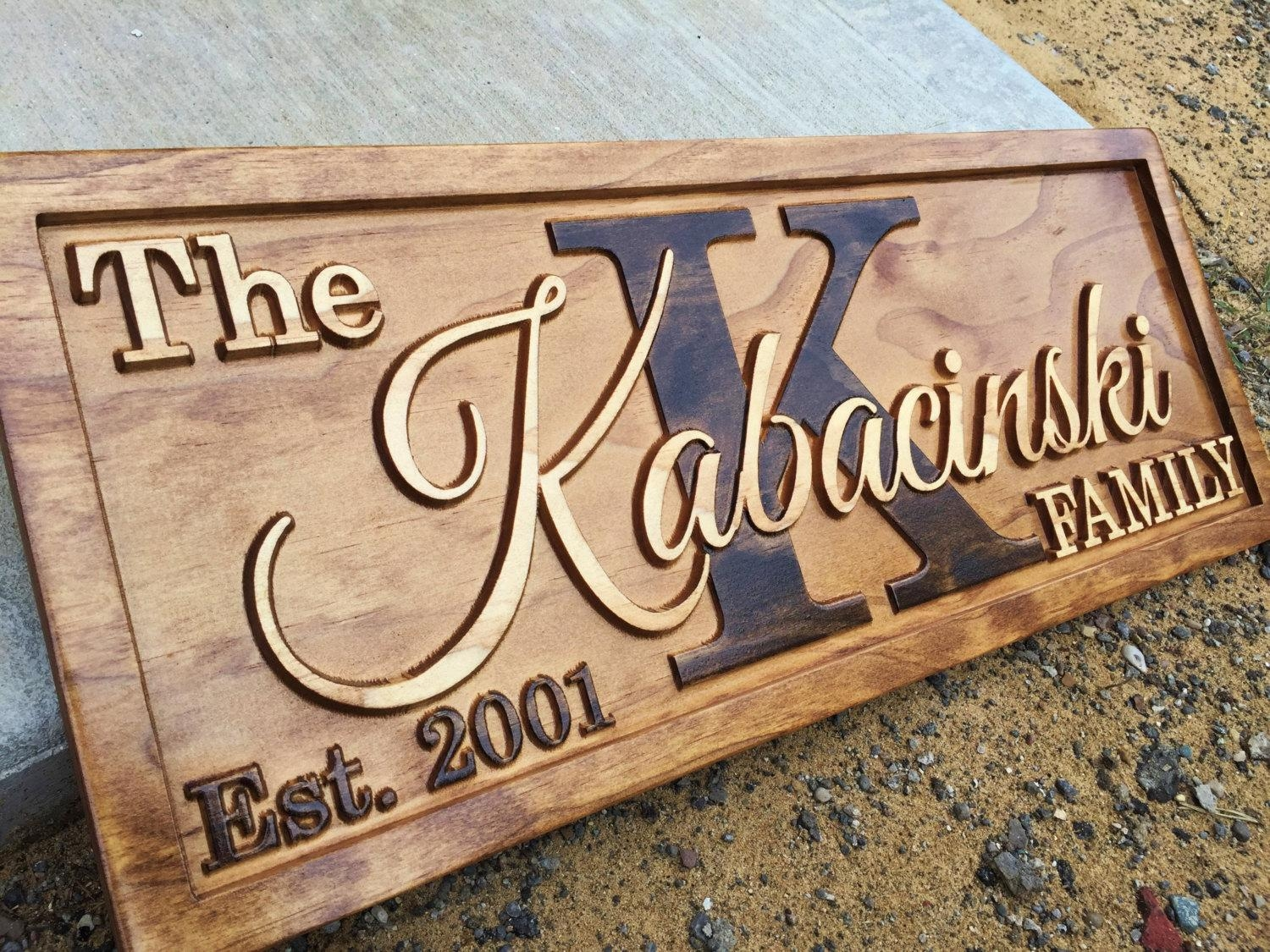 Personalized Last Name Sign Family Established Sign Wedding Pertaining To Custom Last Name Wall Art (View 20 of 20)