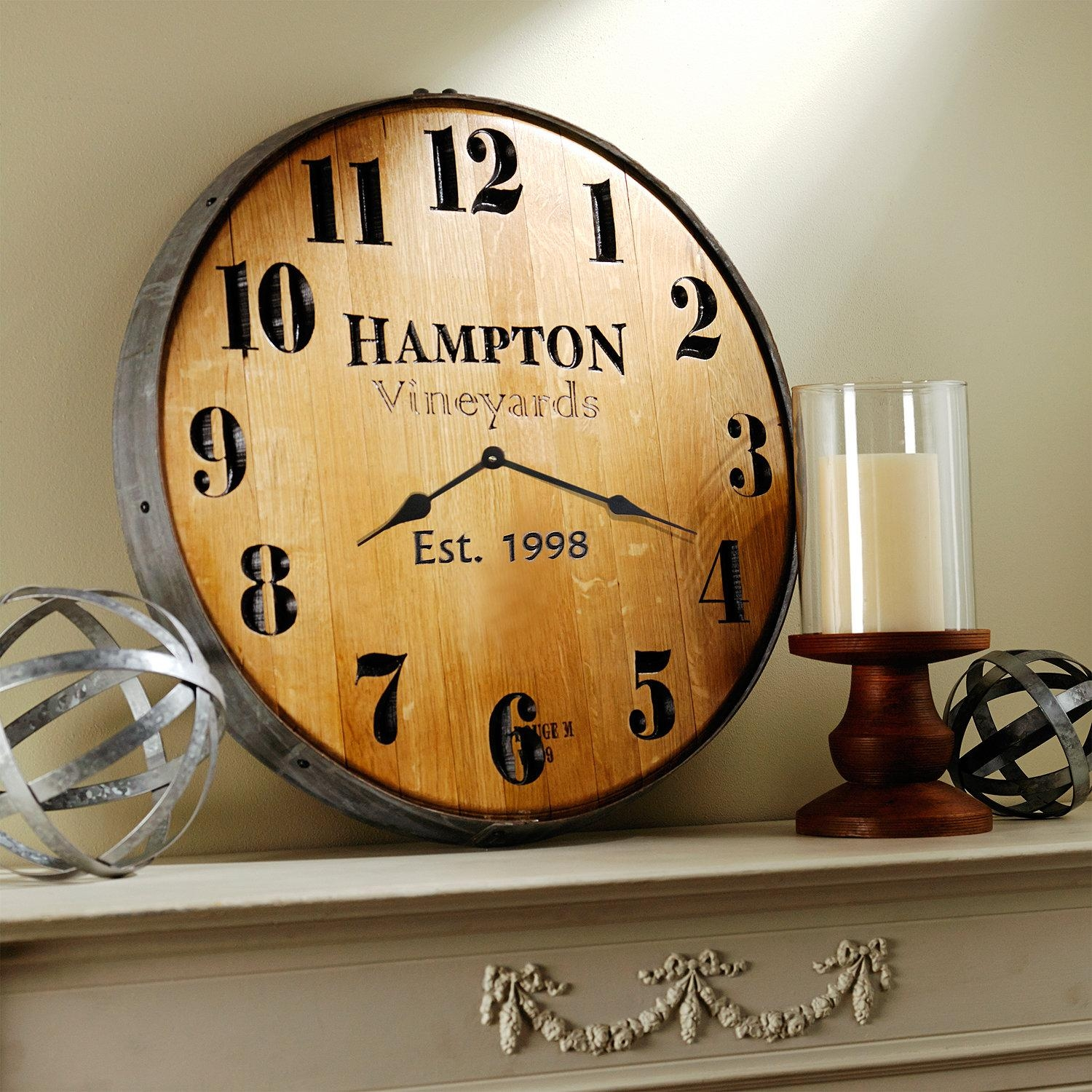 Personalized Wine Barrel Head Wall Clock – Wine Enthusiast Regarding Wine Barrel Wall Art (View 12 of 20)