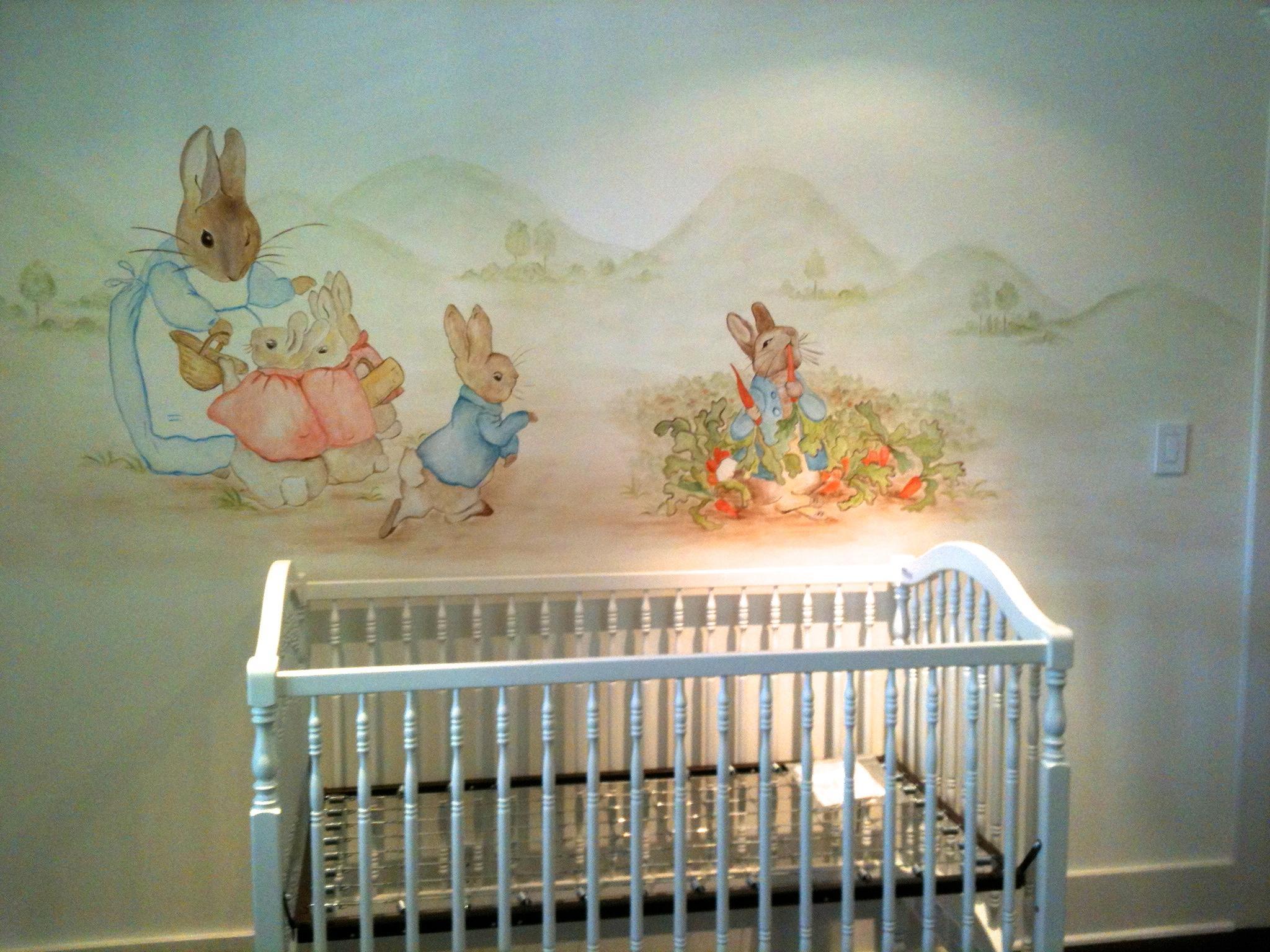 Peter Rabbit Mural – Hand Painted Murals For Children Regarding Peter Rabbit Nursery Wall Art (View 1 of 20)