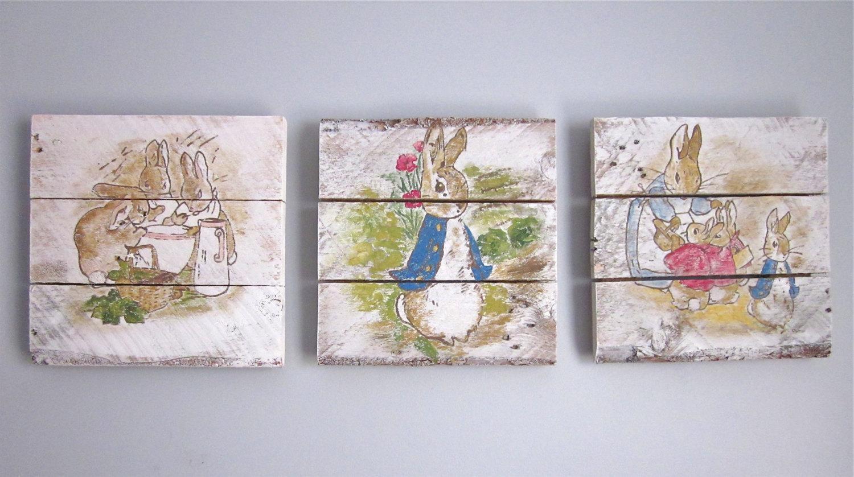 Peter Rabbit Nursery Set Handpainted Wood Signs Regarding Peter Rabbit Nursery Wall Art (View 12 of 20)