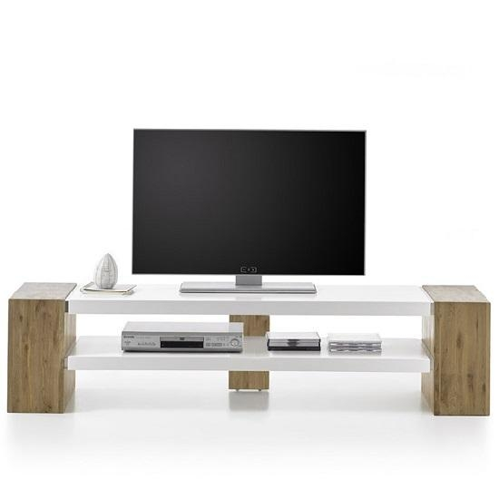 Peter Rectangular Tv Stand In Matt White And Knotty Oak For Latest Rectangular Tv Stands (Image 15 of 20)