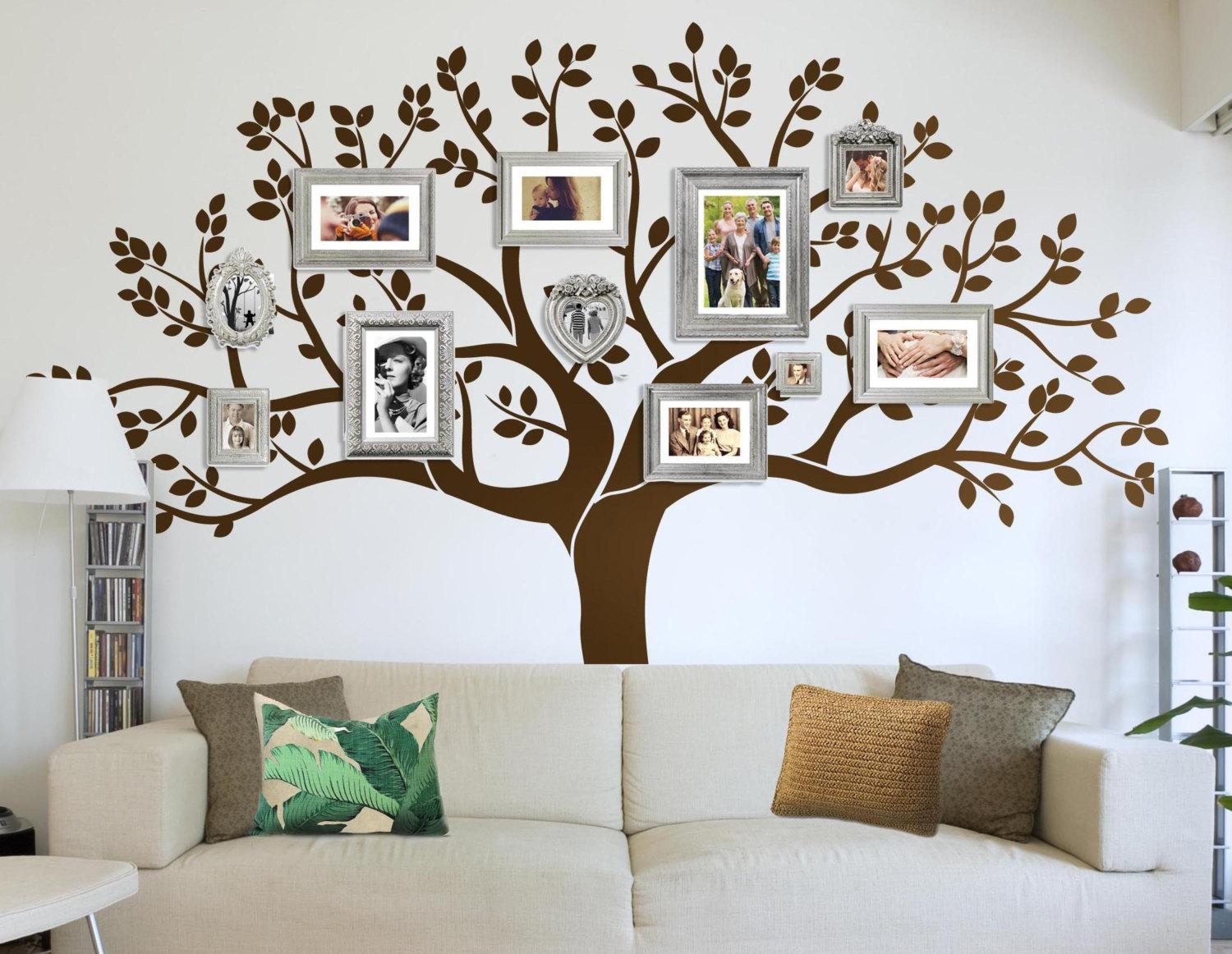 Photo Frame Family Tree Decal Wall Decals Wall Decor Inside Family Wall Art Picture Frames (Image 13 of 20)