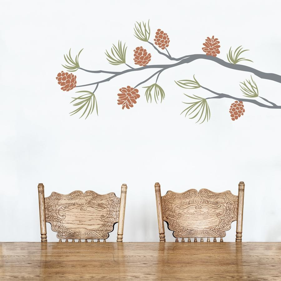Pine Cone Branch Wall Decal Regarding Pine Cone Wall Art (Image 14 of 20)