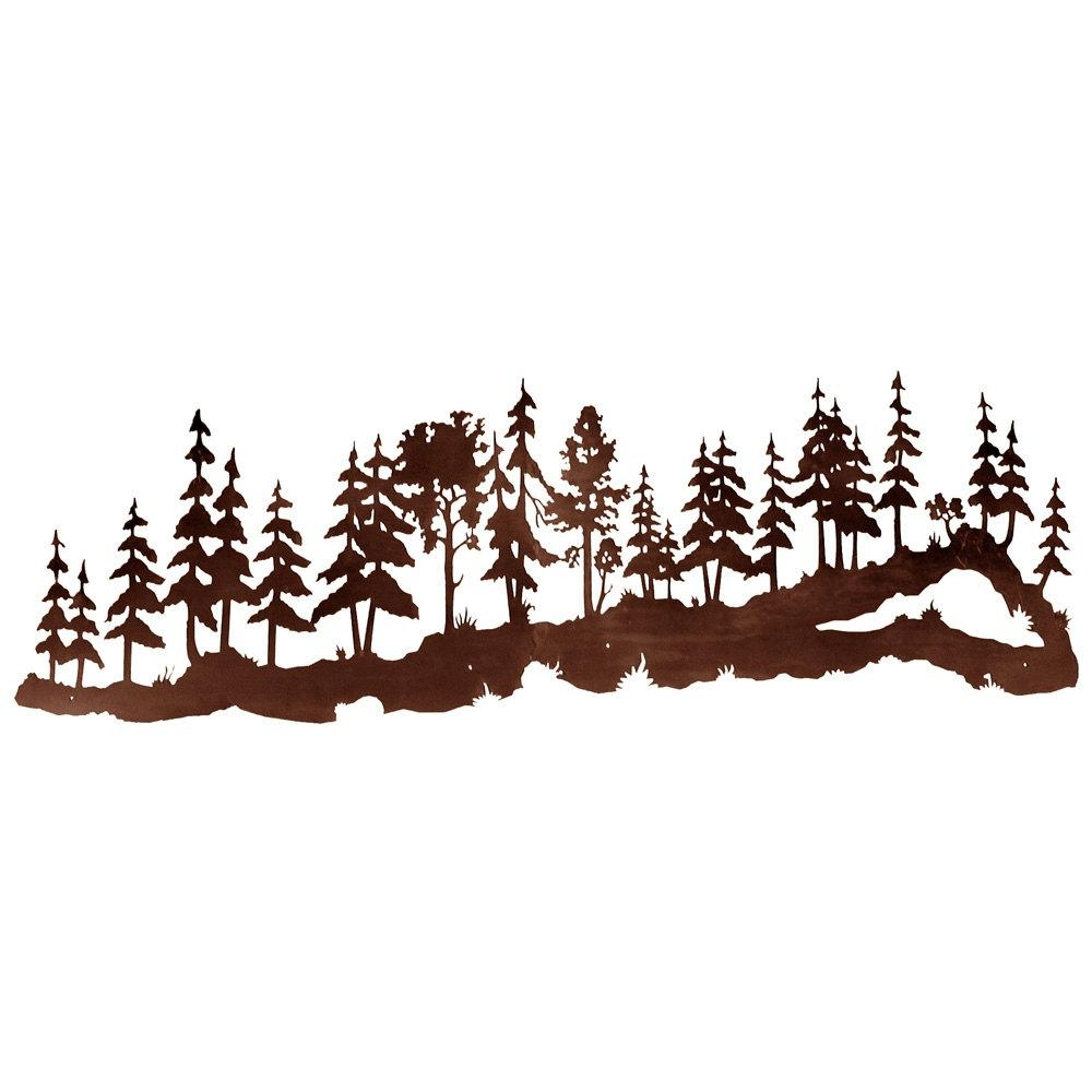 Pine Forest Scene Huge 7Ft Laser Cut Wall Art 84X In Metal Pine Tree Wall Art (Image 9 of 20)