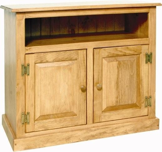 Pine Wood Small Tv Stand Within Newest Wooden Tv Stands With Doors (View 20 of 20)