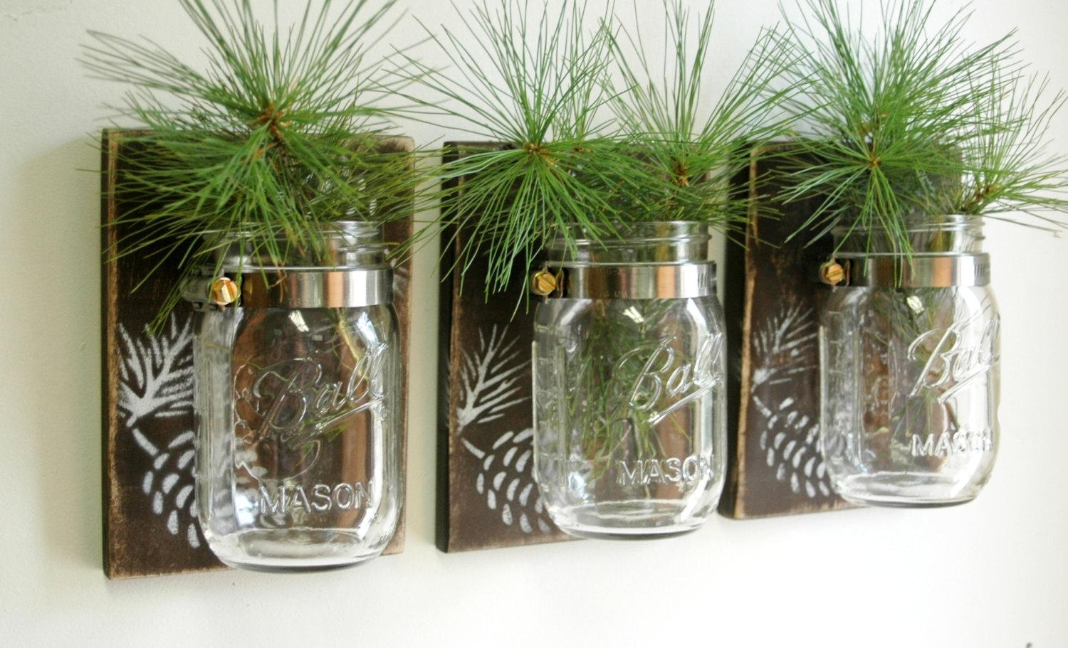 Pinecone Wall Decor Trio Three Mason Jars Mounted On Recycled Within Pine Cone Wall Art (View 1 of 20)