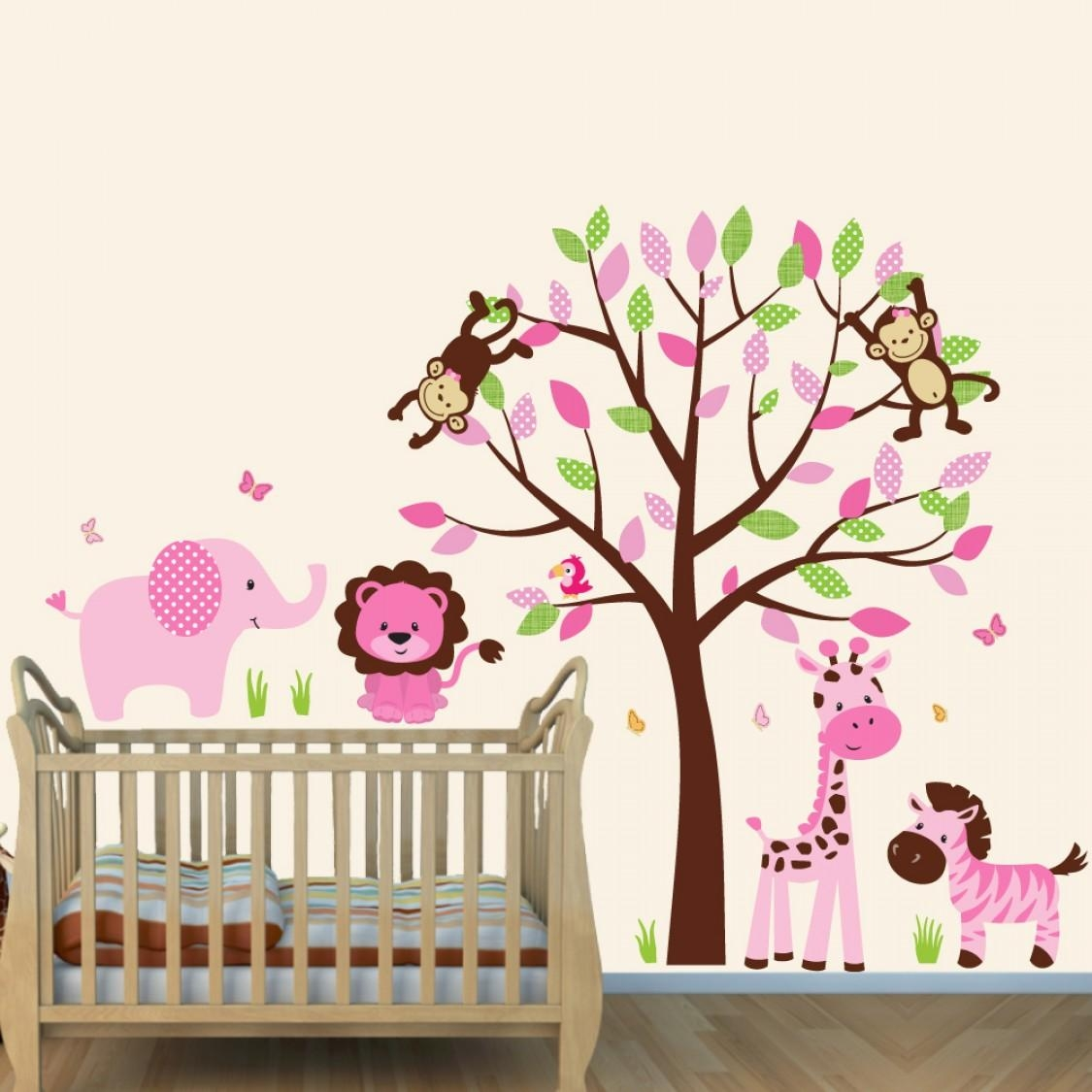 Pink And Brown Jungle Murals For Kids Rooms With Elephant Wall Throughout Elephant Wall Art For Nursery (Image 11 of 20)
