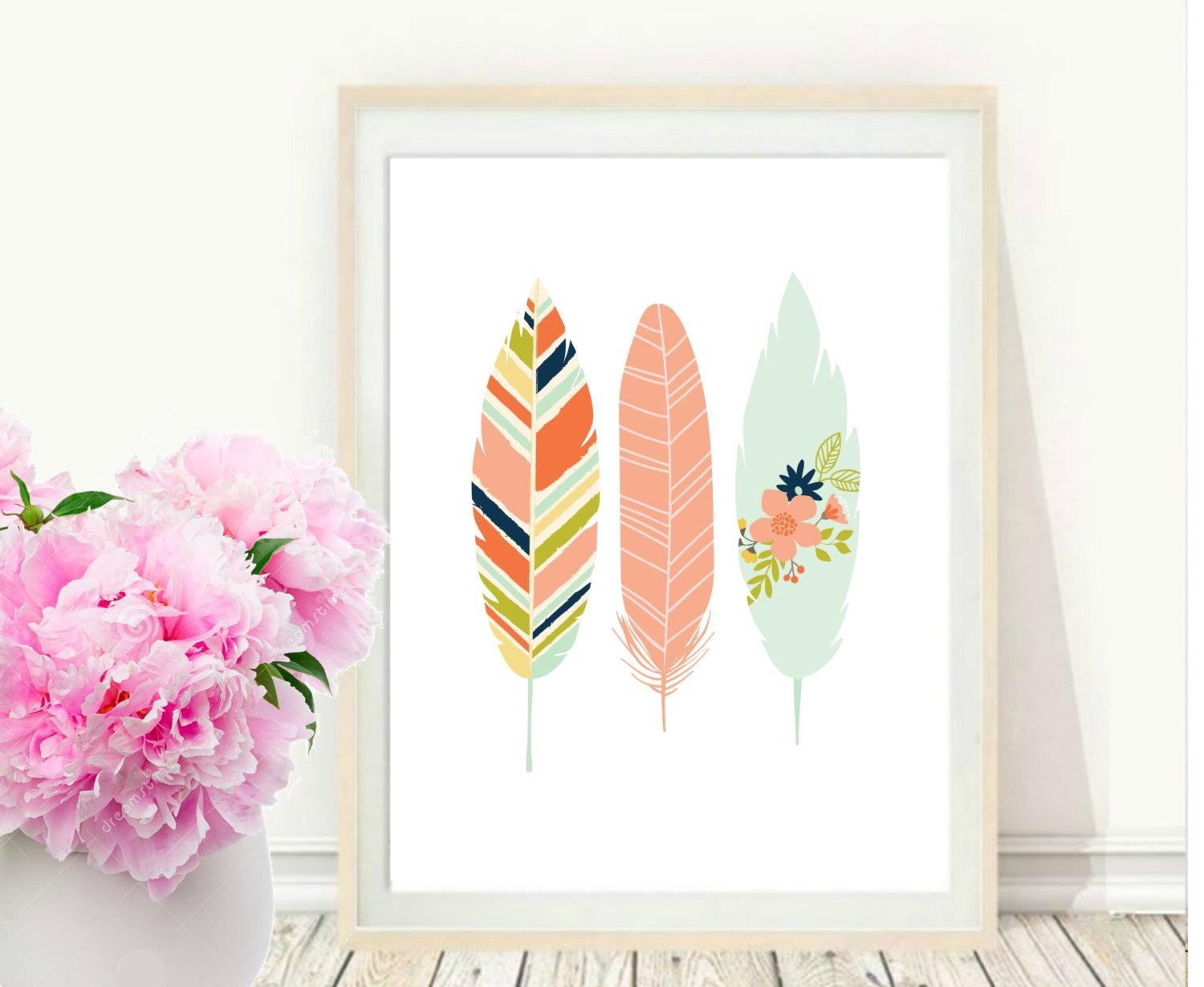 Pink Feather Print Printable Art Feather Art Print In Pink And White Wall Art (View 2 of 20)