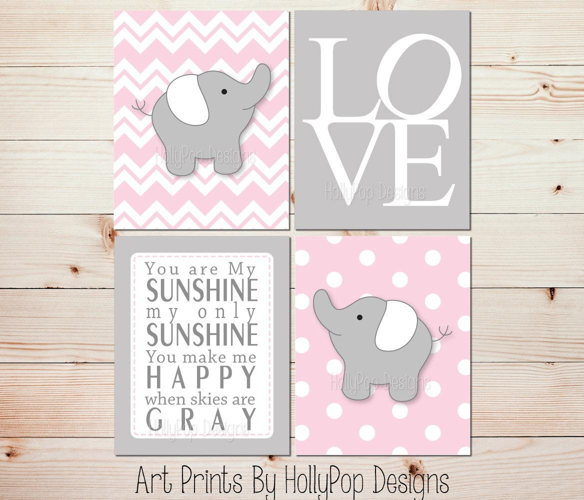 Pink Gray Nursery Art Elephant Nursery Prints Pink Nursery In Elephant Wall Art For Nursery (View 5 of 20)