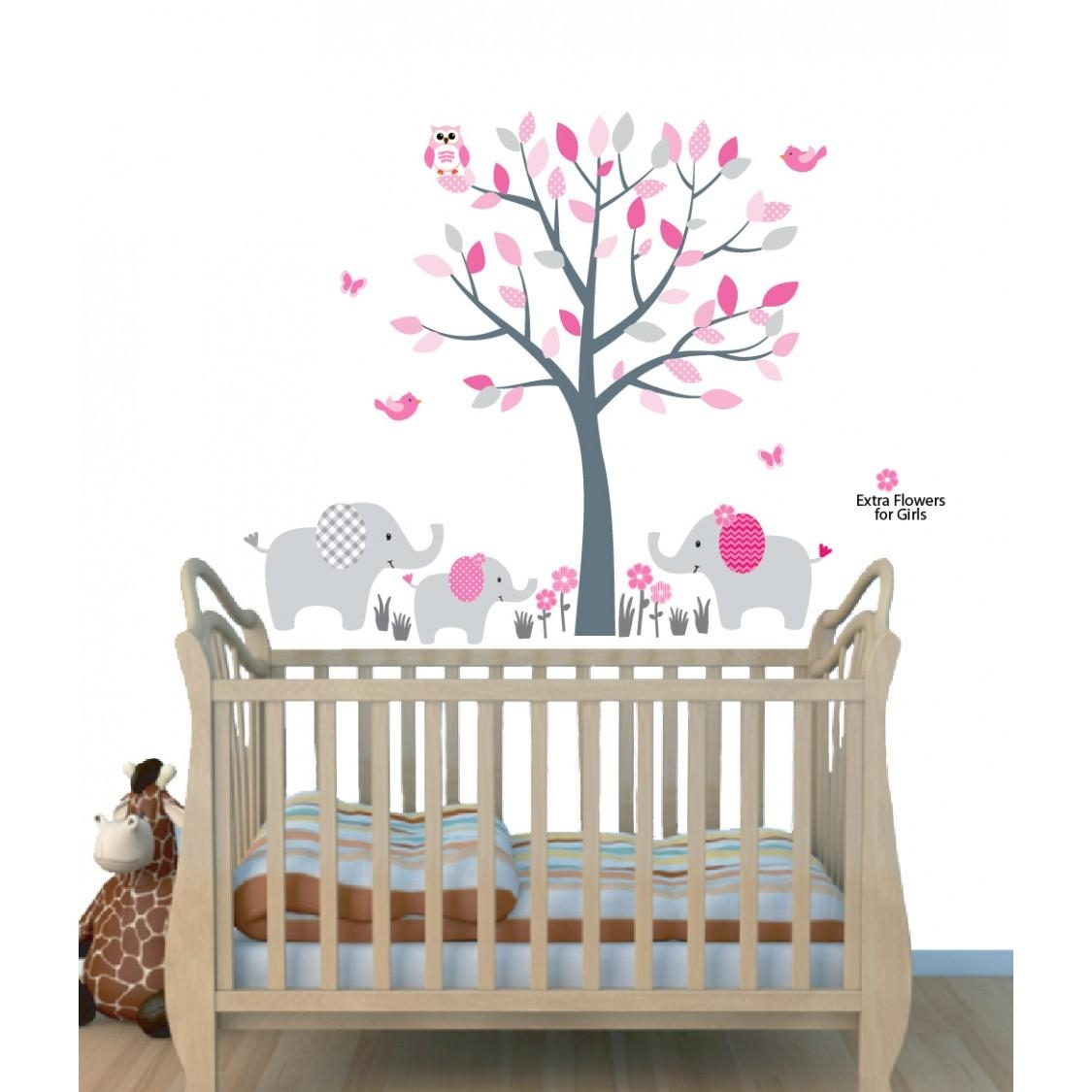 Pink Jungle Tree Wall Art For Nursery With Elephant Wall Decor For In Elephant Wall Art For Nursery (View 3 of 20)