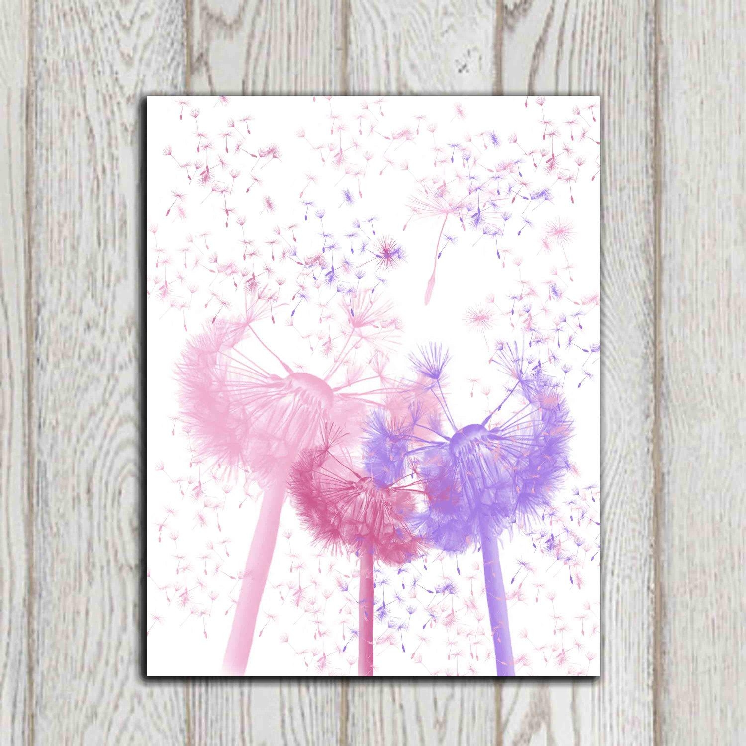Pink Purple White Bedroom Print Dandelion Nursery Printable In Pink And White Wall Art (View 1 of 20)