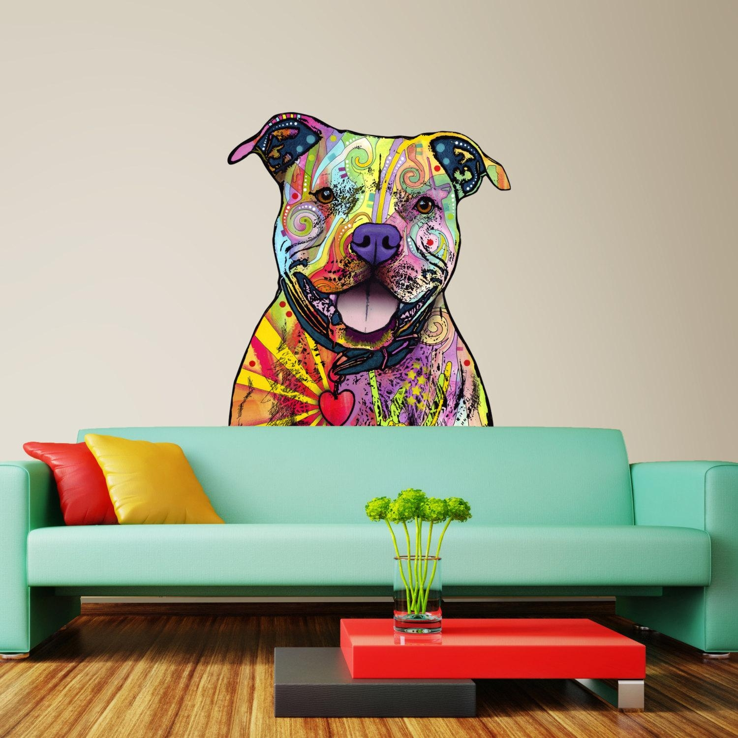 Pit Bull Wall Sticker Cut Out Dean Russo Pop Art Within Pitbull Wall Art (Image 10 of 20)