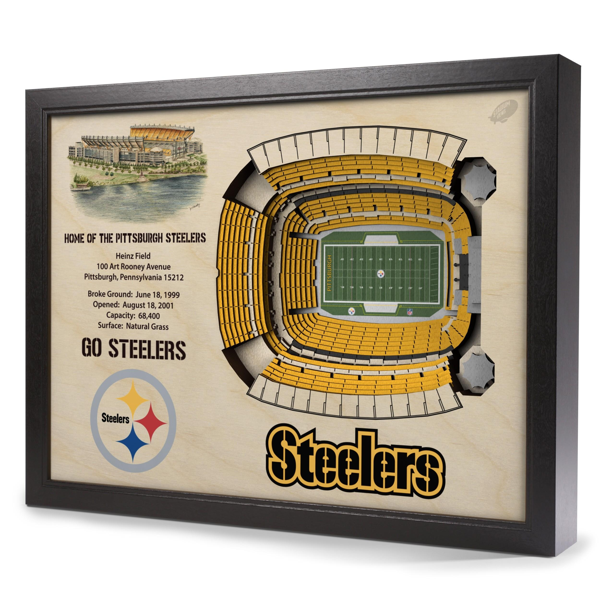 Pittsburgh Steelers Stadiumview Wall Art – Heinz Field 3 D Throughout Steelers Wall Art (Image 11 of 20)