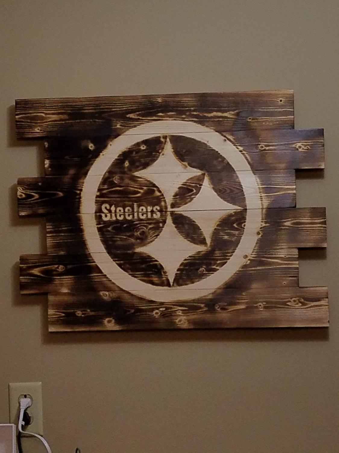Pittsburgh Steelers Wall Art Rustic Wall Art Wood Burned Within Steelers Wall Art (View 9 of 20)
