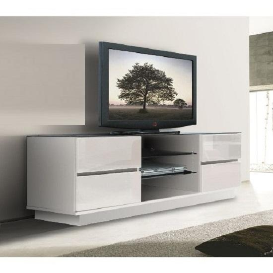 Plasma Lcd Tv Stand In White With Gloss Drawers 3543 In 2017 Gloss Tv Stands (Image 13 of 20)
