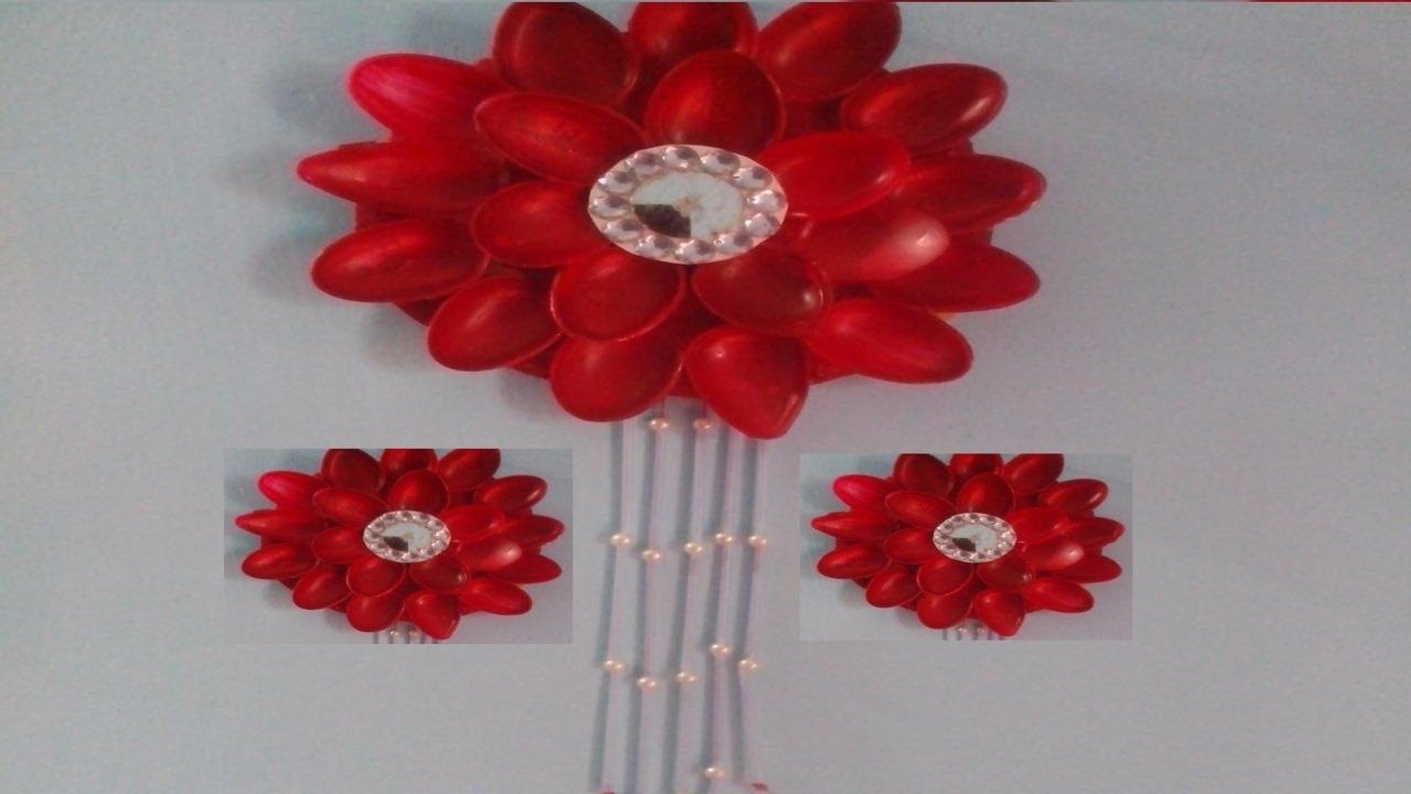 Plastic Spoon Flower Wall Hanging (View 20 of 20)
