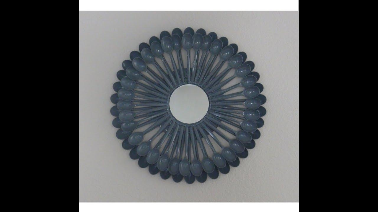Plastic Spoon Sunburst Mirror Diy Wall Art – Youtube With Regard To Plastic Spoon Wall Art (Image 13 of 20)