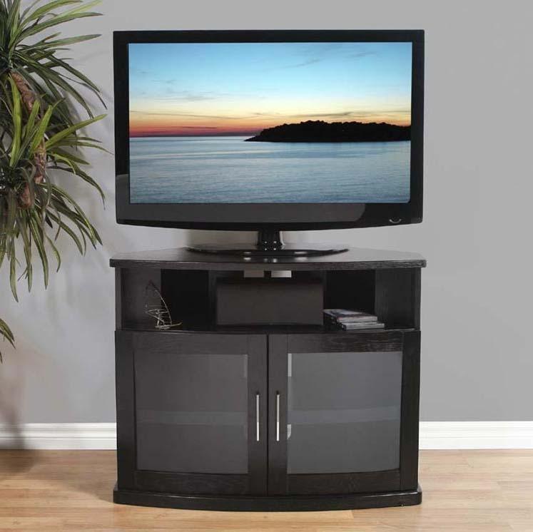 Plateau Newport Series Corner Wood Tv Cabinet With Glass Doors For Regarding 2018 Black Wood Corner Tv Stands (Image 17 of 20)