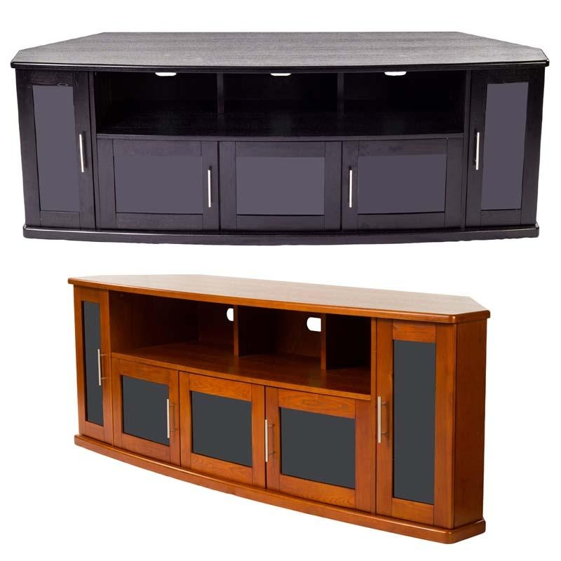 Plateau Newport Series Corner Wood Tv Cabinet With Glass Doors For Within Most Up To Date Black Corner Tv Cabinets With Glass Doors (Image 18 of 20)
