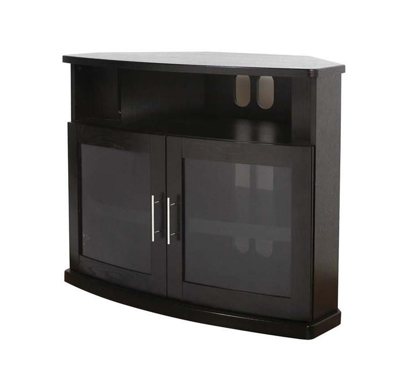 Plateau Newport Series Corner Wood Tv Cabinet With Glass Doors For Within Recent Black Corner Tv Cabinets With Glass Doors (Image 19 of 20)