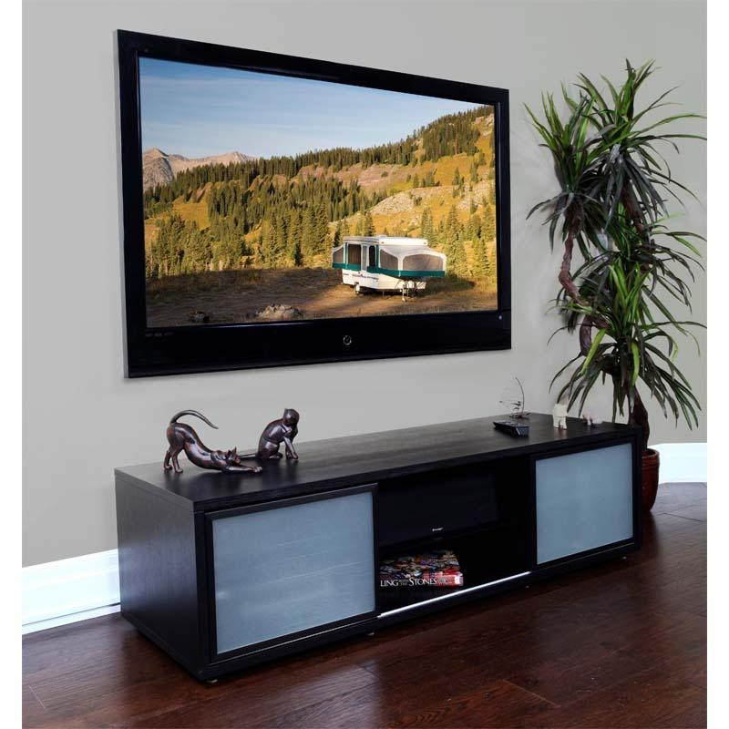 Plateau Sr Series Retro Tv Cabinet With Glass Doors For 48 65 Inch Throughout Most Recently Released Glass Tv Cabinets With Doors (Image 15 of 20)