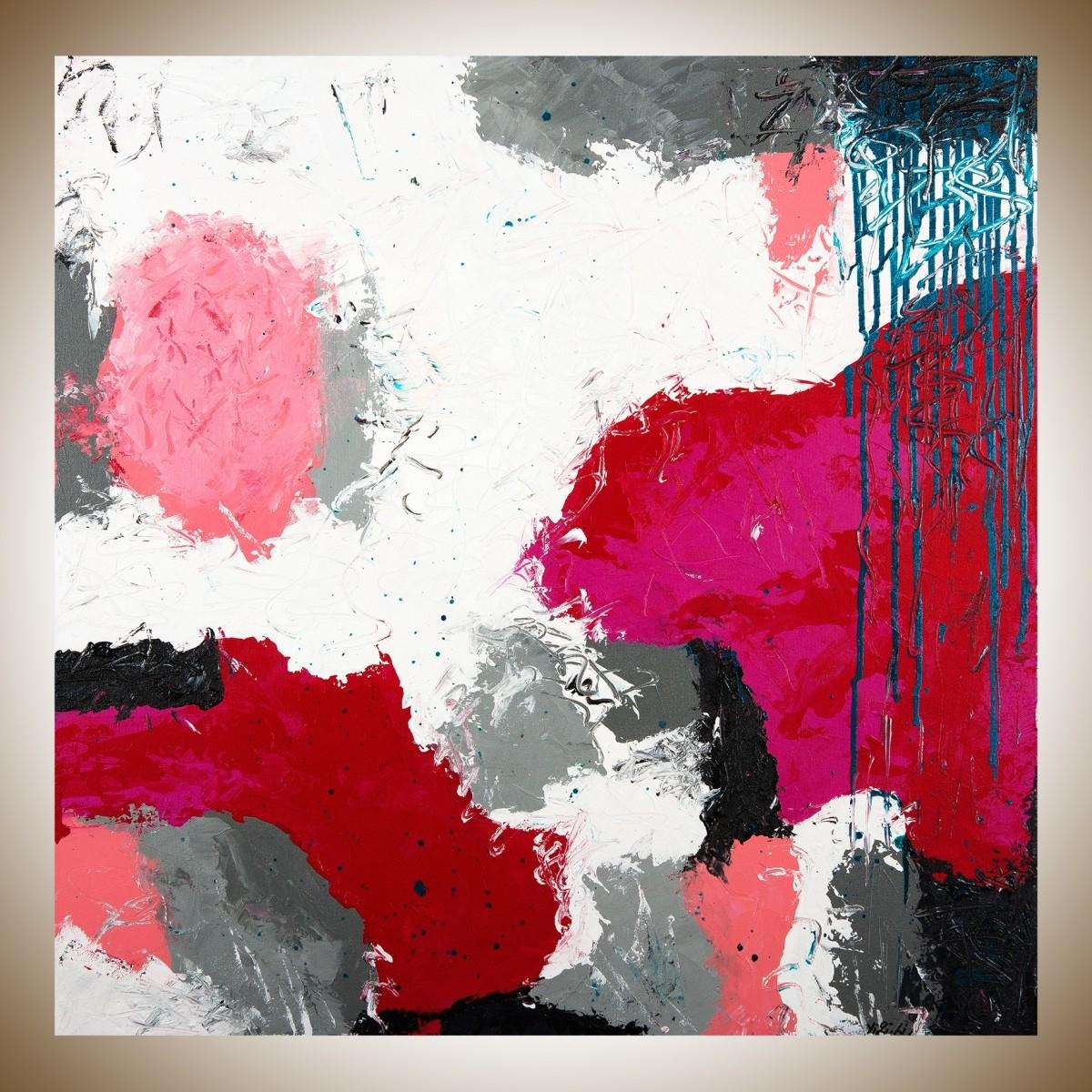 "Playfulqiqigallery 30"" X 30"" Abstract Painting Red White Grey With Red White And Blue Wall Art (View 3 of 20)"