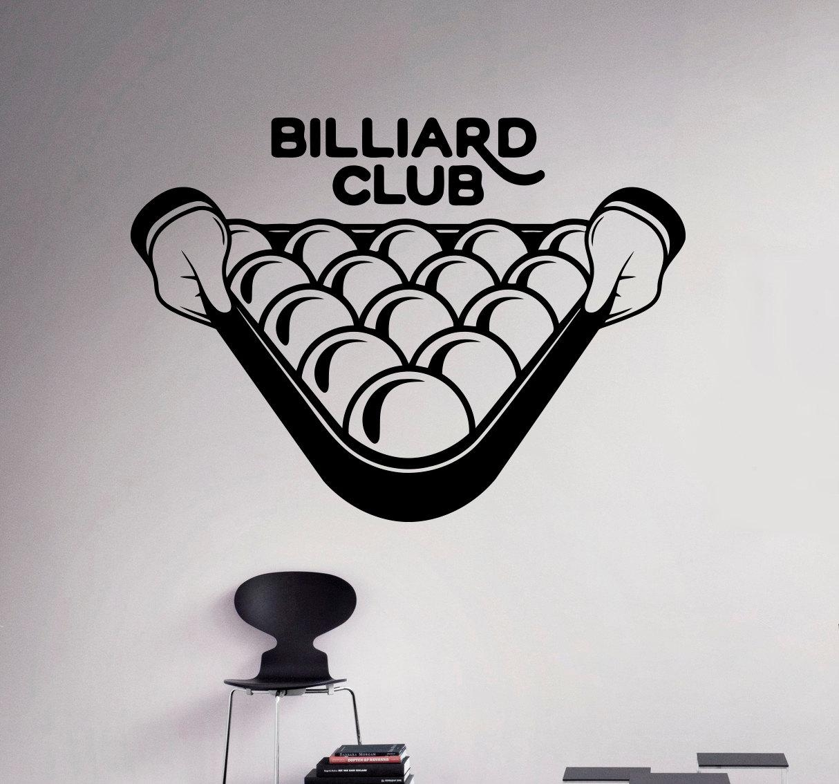 Pool Billiard Club Wall Decal Poolroom Vinyl Sticker Sport For Billiard Wall Art (Image 15 of 20)