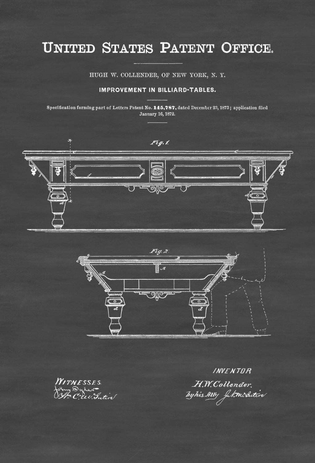 Pool Table Patent 1872 – Patent Print, Wall Decor, Billiard Room Within Billiard Wall Art (Image 16 of 20)