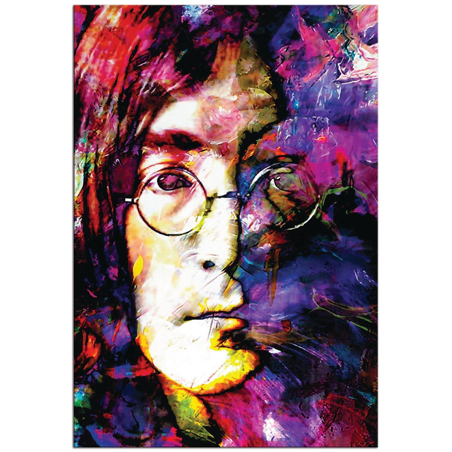 Pop Art 'john Lennon' Pop Culture Icon Painting For Rock And Roll Wall Art (View 1 of 20)