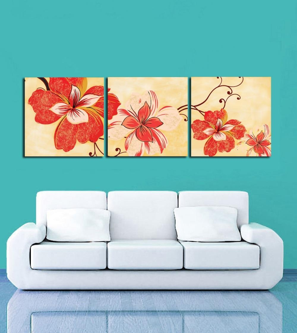 Popular Orange Flower Wall Art Buy Cheap Orange Flower Wall Art In Orange And Blue Wall Art (Image 12 of 20)