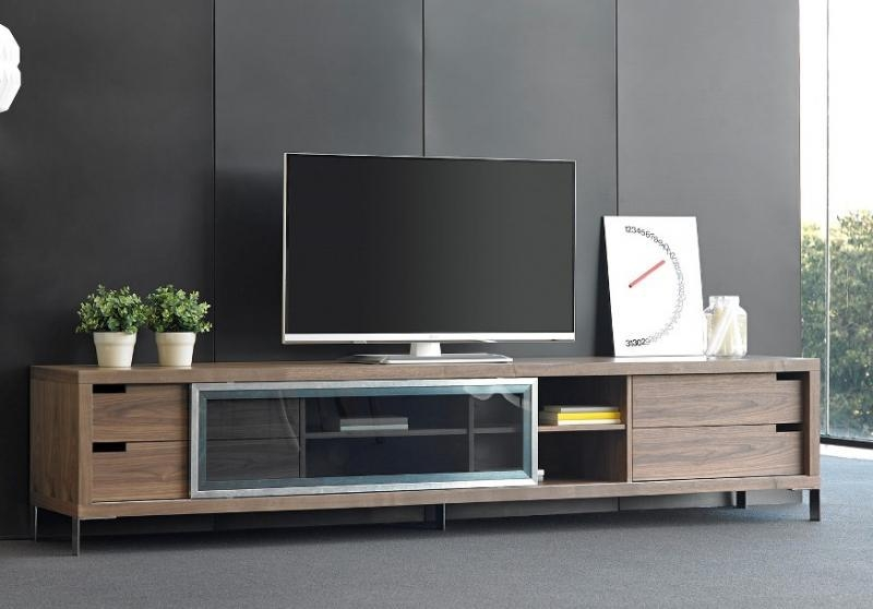 Porto Lujo, Leo, Modern Tv Cabinet In Walnut And Glass Within Most Recent Glass Tv Cabinets (View 16 of 20)