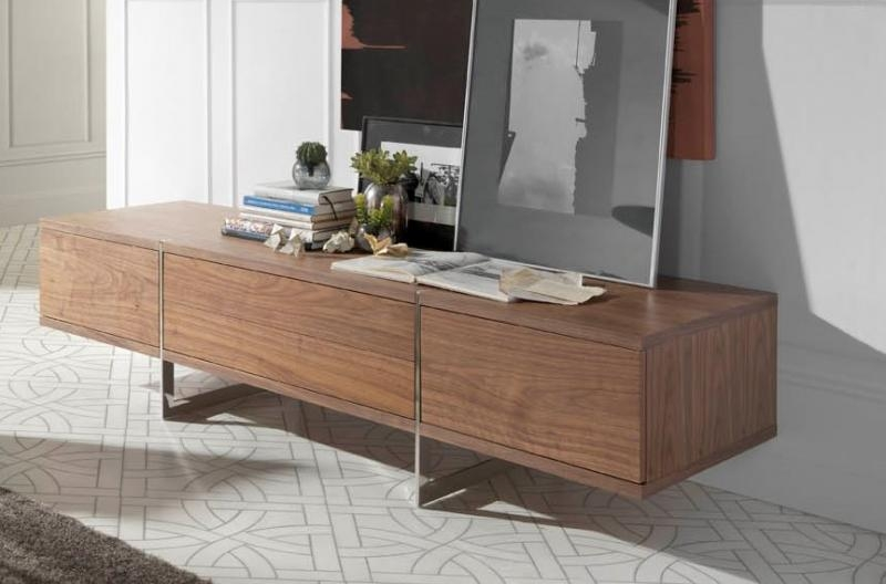 Porto Lujo, Lyra, Contemporary Tv Cabinet In Walnut With Steel Legs In Best And Newest Walnut Tv Cabinet (Image 15 of 20)