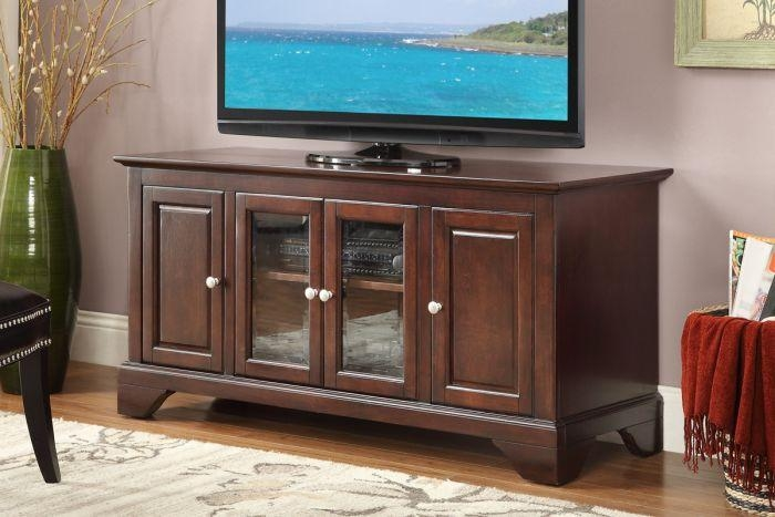 Poundex F4546 Cherry Wood Tv Stand F4546 Regarding Most Current Cherry Wood Tv Stands (View 6 of 20)