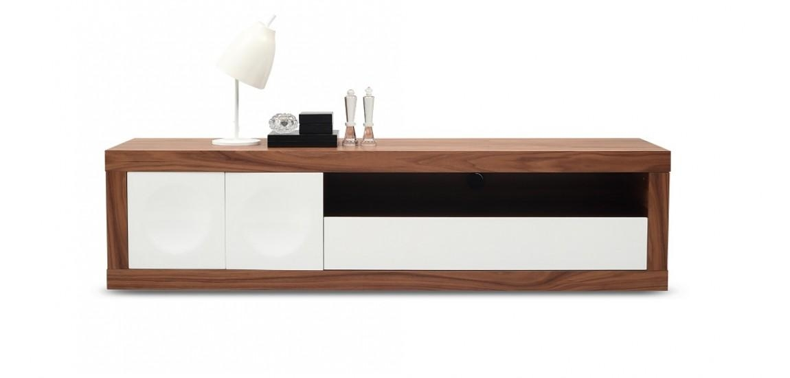 Prato Tv Stand In Walnut Wood And White Finishj&m Throughout 2017 Walnut Tv Stand (Image 15 of 20)