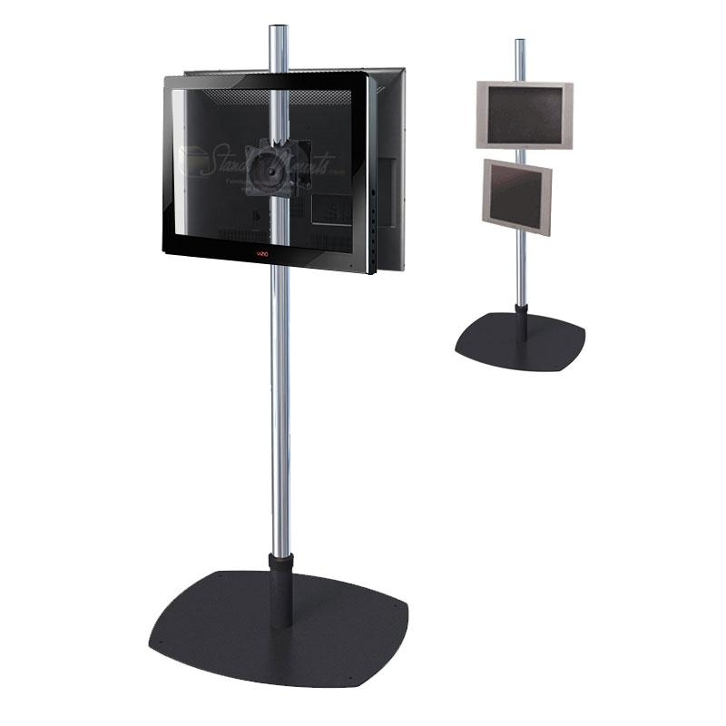 Premier Mounts Single Pole Floor Stand For Dual 17 40 Inch Screens For 2018 Single Tv Stands (Image 11 of 20)