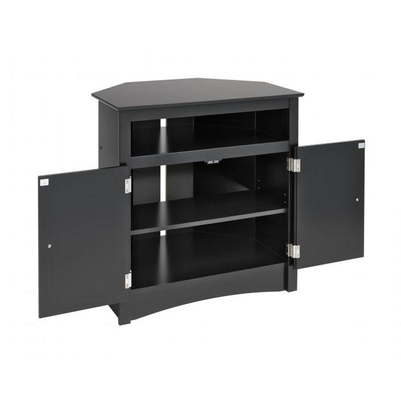 Prepac Sonoma Collection Tall Corner Tv Cabinet For Screens Up To With Most Current Tall Black Tv Cabinets (Image 14 of 20)