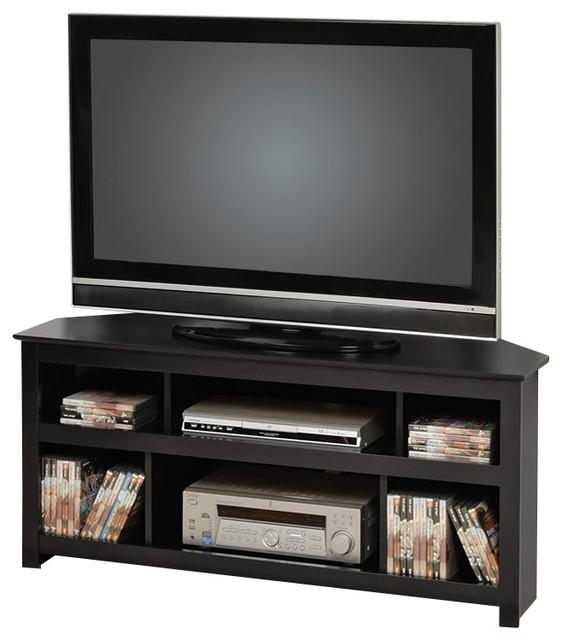 Prepac Vasari Flat Panel Plasma / Lcd Corner Tv Stand In Black With Regard To Recent Black Corner Tv Cabinets (View 6 of 20)