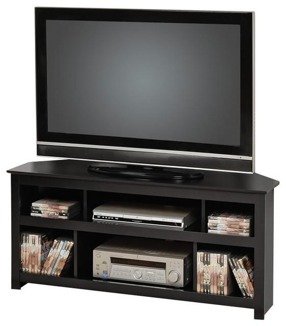 Prepac Vasari Flat Panel Plasma / Lcd Corner Tv Stand In Black With Regard To Recent Black Corner Tv Cabinets (Image 15 of 20)